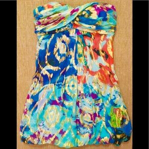 Xscape Joanna Chen Silk floral watercolor dress